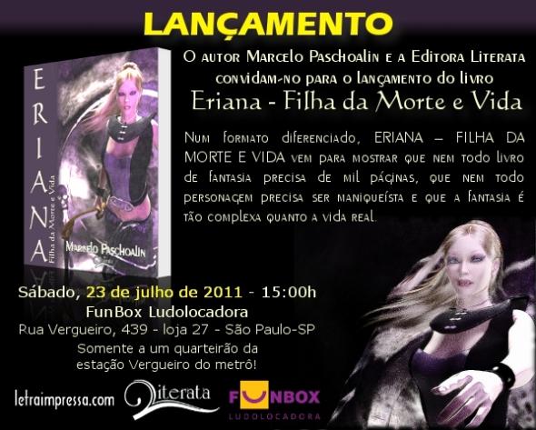 Convite de lançamento de Eriana - Filha da Morte e Vida